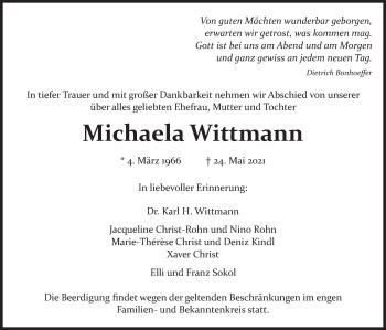 Traueranzeige von Michaela Wittmann von merkurtz