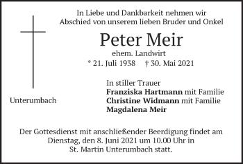Traueranzeige von Peter Meir von merkurtz