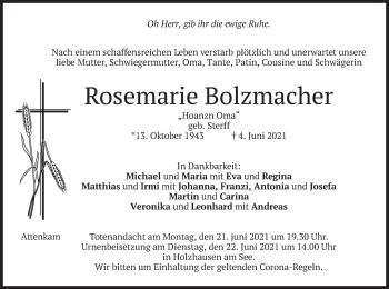 Traueranzeige von Rosemarie Bolzmacher von merkurtz
