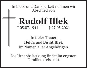Traueranzeige von Rudolf Illek von merkurtz