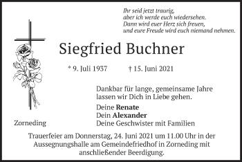 Traueranzeige von Siegfried Buchner von merkurtz