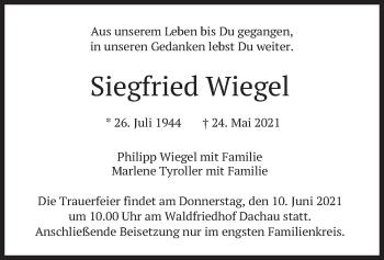 Traueranzeige von Siegfried Wiegel von merkurtz
