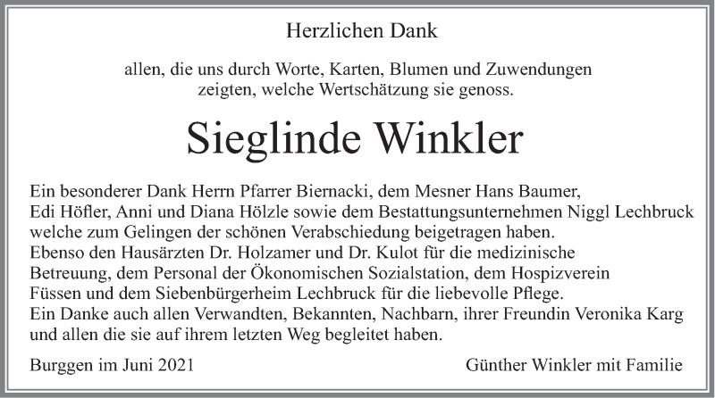 Traueranzeige für Sieglinde Winkler vom 26.06.2021 aus merkurtz