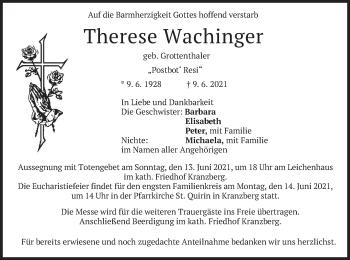 Traueranzeige von Therese Wachinger von merkurtz