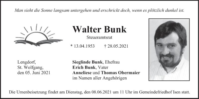 Traueranzeige für Walter Bunk vom 05.06.2021 aus merkurtz