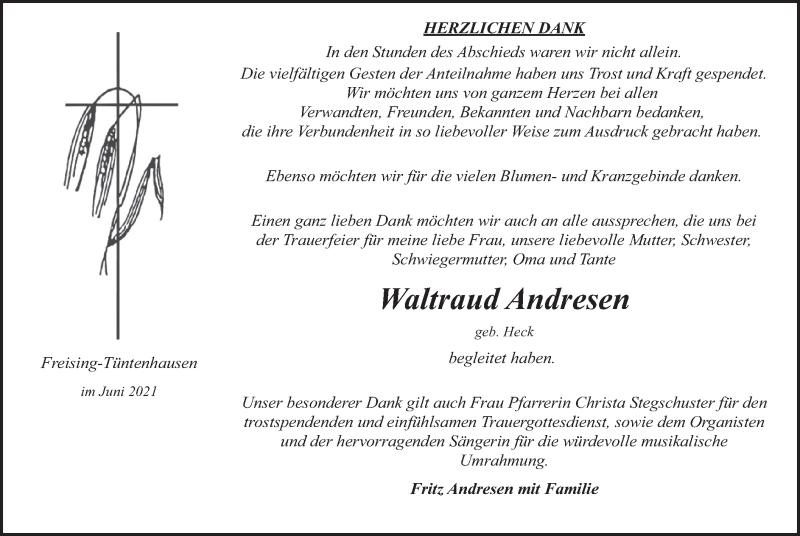 Traueranzeige für Waltraud Andresen vom 19.06.2021 aus merkurtz