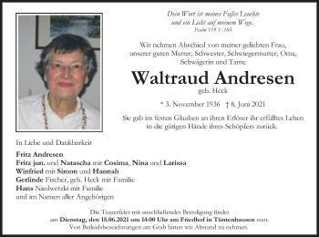 Traueranzeige von Waltraud Andresen von merkurtz