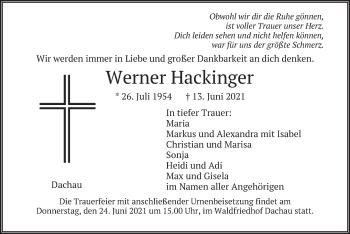 Traueranzeige von Werner Hackinger von merkurtz
