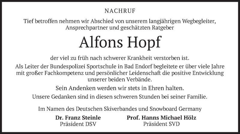 Traueranzeige für Alfons Hopf vom 21.07.2021 aus merkurtz