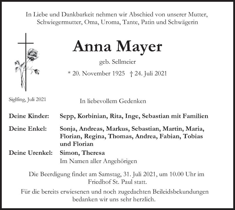 Traueranzeige für Anna Mayer vom 28.07.2021 aus merkurtz