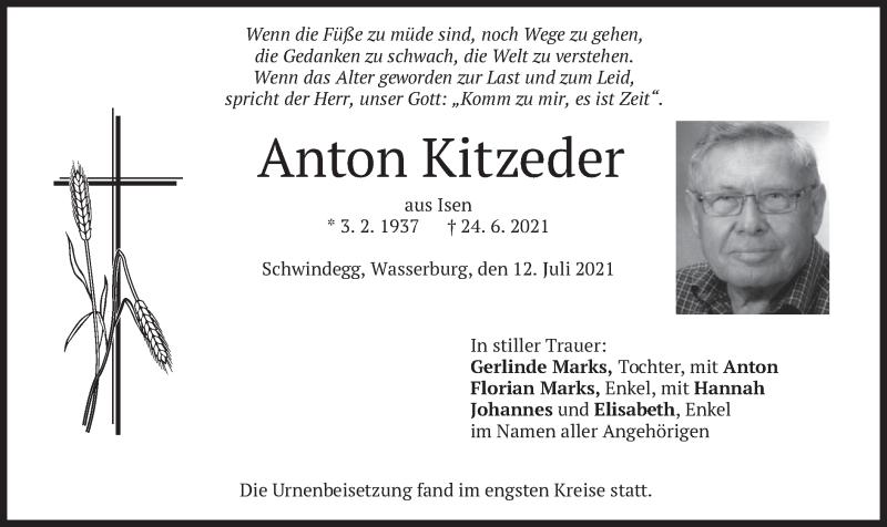 Traueranzeige für Anton Kitzeder vom 12.07.2021 aus merkurtz