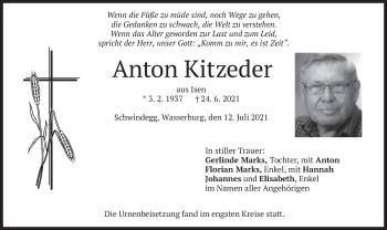 Traueranzeige von Anton Kitzeder von merkurtz