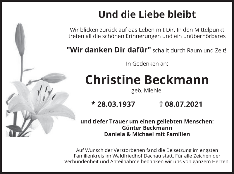 Traueranzeige für Christine Beckmann vom 31.07.2021 aus merkurtz