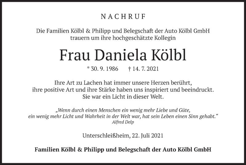 Traueranzeige für Daniela Kölbl vom 22.07.2021 aus merkurtz