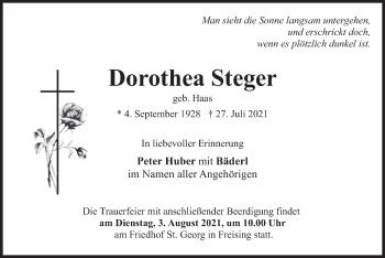 Traueranzeige von Dorothea Steger von merkurtz