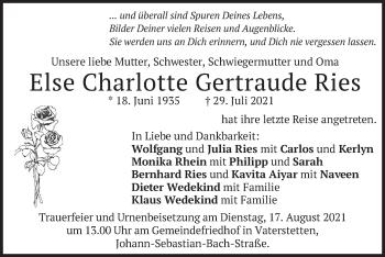 Traueranzeige von Else Charlotte Gertraude Ries von merkurtz