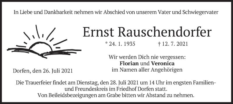 Traueranzeige für Ernst Rauschendorfer vom 26.07.2021 aus merkurtz