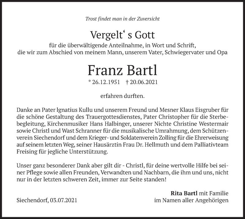Traueranzeige für Franz Bartl vom 03.07.2021 aus merkurtz