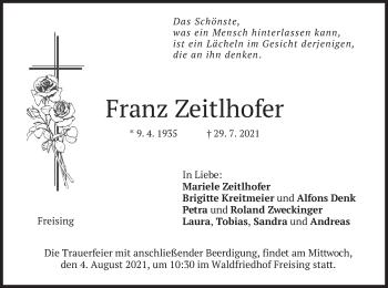 Traueranzeige von Franz Zeitlhofer von merkurtz