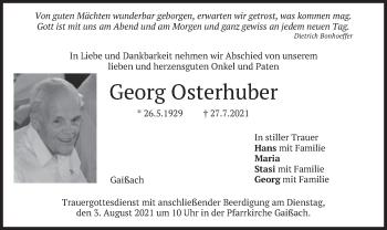 Traueranzeige von Georg Osterhuber von merkurtz