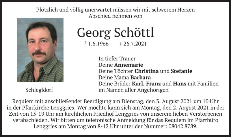 Traueranzeige für Georg Schöttl vom 31.07.2021 aus merkurtz