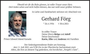 Traueranzeige von Gerhard Förg von merkurtz