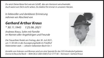 Traueranzeige von Gerhard Arthur Kraus von merkurtz