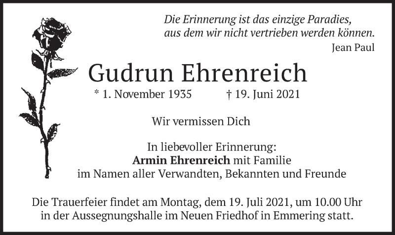 Traueranzeige für Gudrun Ehrenreich vom 16.07.2021 aus merkurtz