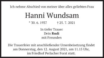 Traueranzeige von Hanni Wundsam von merkurtz