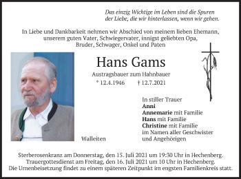 Traueranzeige von Hans Gams von merkurtz