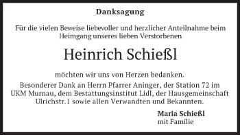 Traueranzeige von Heinrich Schießl von merkurtz
