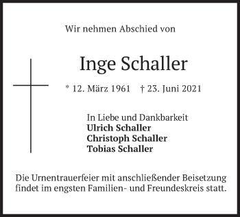 Traueranzeige von Inge Schaller von merkurtz