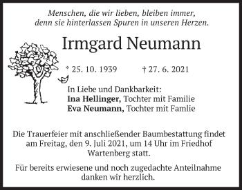 Traueranzeige von Irmgard Neumann von merkurtz
