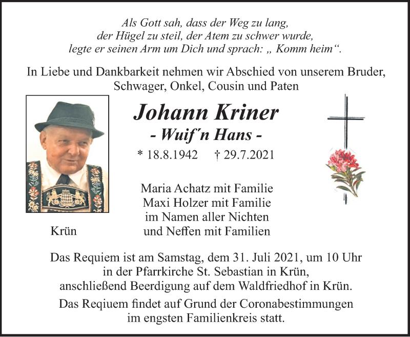 Traueranzeige für Johann Kriner vom 30.07.2021 aus merkurtz
