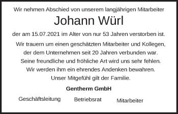 Traueranzeige von Johann Würl von merkurtz