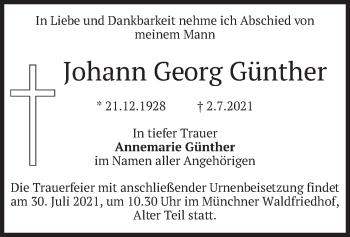 Traueranzeige von Johann Georg Günther von merkurtz