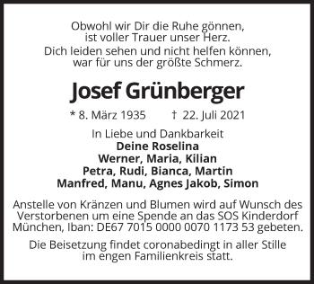 Traueranzeige von Josef Grünberger von merkurtz