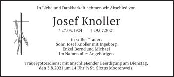 Traueranzeige von Josef Knoller von merkurtz