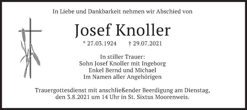 Traueranzeige für Josef Knoller vom 31.07.2021 aus merkurtz
