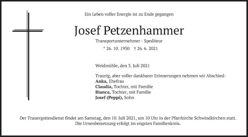 Traueranzeige für Josef Petzenhammer vom 03.07.2021 aus merkurtz