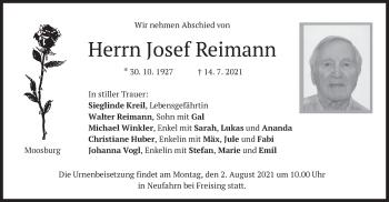 Traueranzeige von Josef Reimann von merkurtz