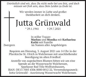 Traueranzeige von Jutta Grünwald von merkurtz