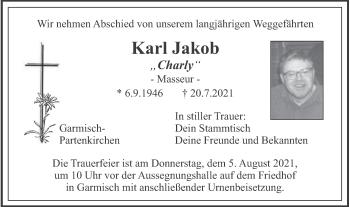 Traueranzeige von Karl Jakob von merkurtz