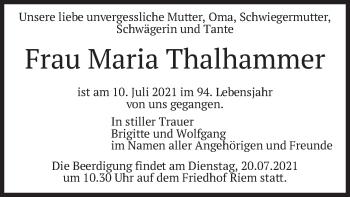 Traueranzeige von Maria Thalhammer von merkurtz