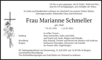 Traueranzeige von Marianne Schmeller von merkurtz