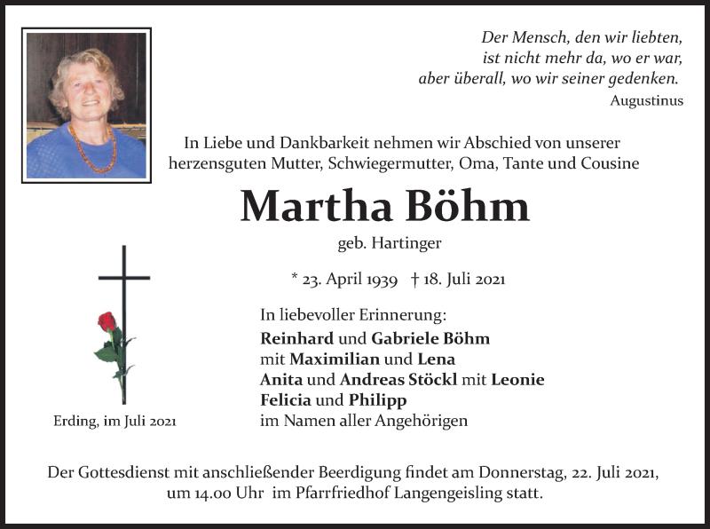 Traueranzeige für Martha Böhm vom 21.07.2021 aus merkurtz