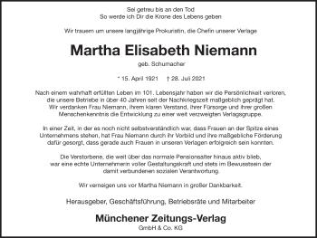 Traueranzeige von Martha Elisabeth Niemann von merkurtz