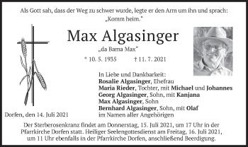 Traueranzeige von Max Algasinger von merkurtz