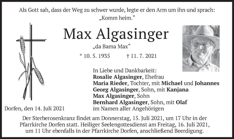Traueranzeige für Max Algasinger vom 14.07.2021 aus merkurtz