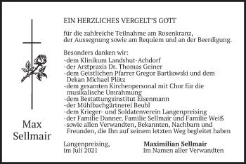 Traueranzeige von Max Sellmair von merkurtz